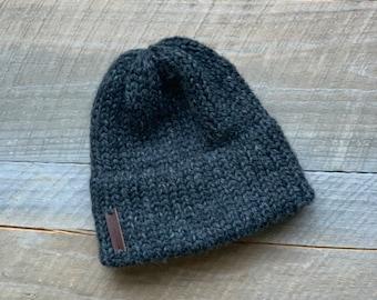 Slouchy beanie Unisex OOAK hat Art yarn hat Handknit felted winter hat Chunky hand-spoon art yarn Beanie Unisex hat Wool silk ORIGINAL HAT