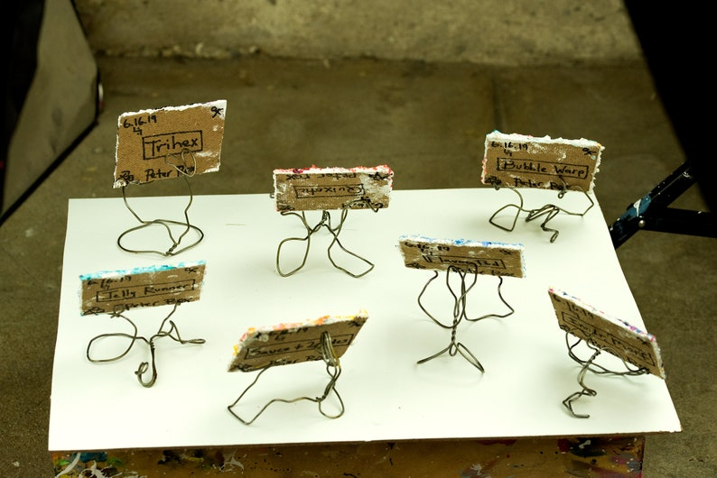 Mini Card #1 Series 412 - hand painted desktop art /& wire easel for discriminating tastes rockstars and assorted classy folk
