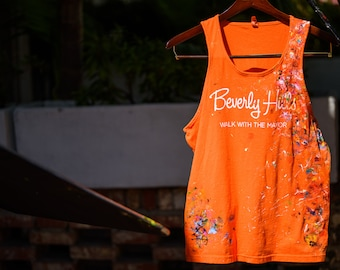 Beverly Hills tank top painted by Rox