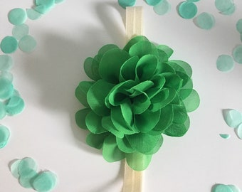 Green chiffon flower headband