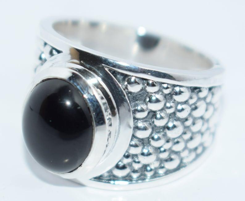 Handmade ! Ring Natural Black Onyx Gemstone 925 Starling Silver Ring Jewelry