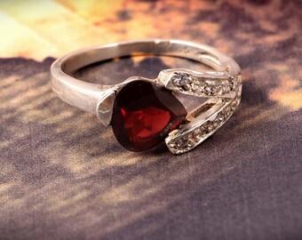 Garnet Ring Handmade 925 Sterling Silver Ring Natural Gemstone Ring jewelry