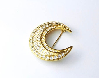 Joan Rivers Pave Crystal Crescent Moon Sparkling Pin/Brooch