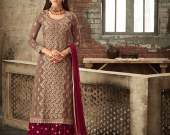 158c82f78e2 Wedding Special Georgette maroon full embroidery Sarara Dress