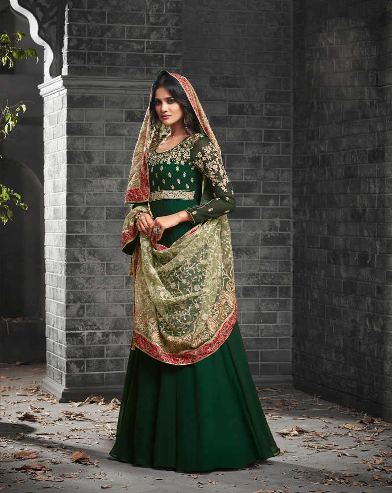 f50ce5652 Designer Pakistani Green Long Anarkali Plus size Salwar Suit