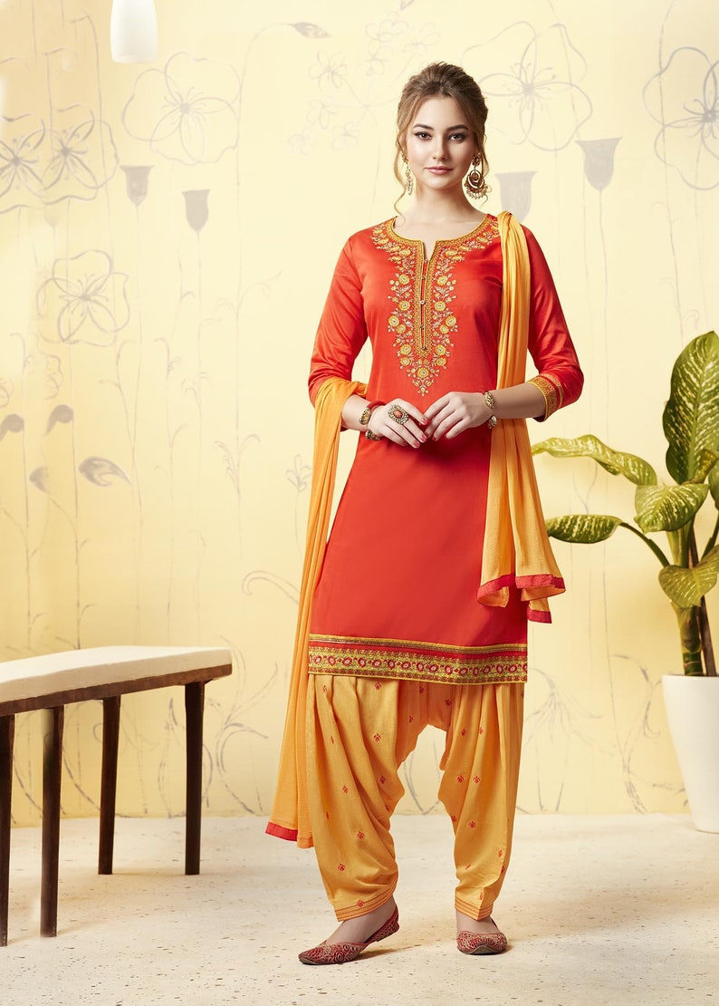 a230f9a8692580 Orange and Yellow fancy partywear Cotton Punjabi Suit Patiala
