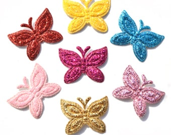 Mixed Colors Small Glitter Butterfly Leather Fabric Patch Applique Craft  Scrapbooking Party DIY Decor f5a491f364eb