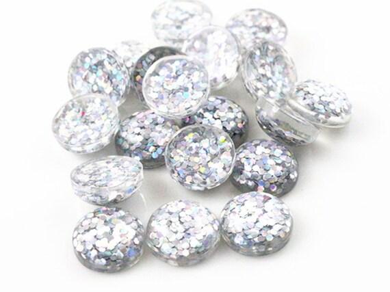40pcs 12mm Charm Round Glitter Dome Cabochon Flatback Jewelry Making Craft DIY