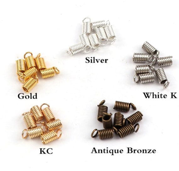 50pcs Cord Coil Spring End Crimp Fasteners for DIY Jewelry Necklace Bracelet