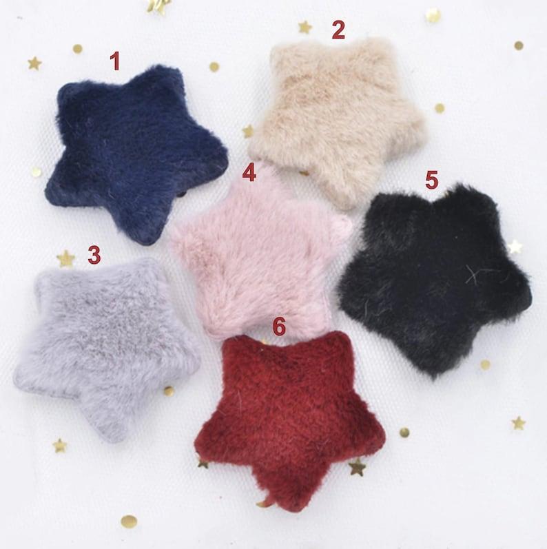 12pcs Star Soft Hair Plush Patch Applique Craft Scrapbooking Party Wedding DIY Decor
