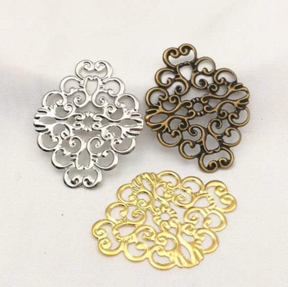 30pcs Charm Metal Filigree Flower Connector Chandelier Earring Finding Craft DIY