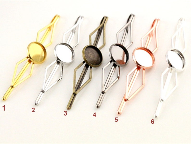 10pcs 20mm Charm Hair Clips Hairpin Base Setting Cabochon Hair Clips Blank Trays