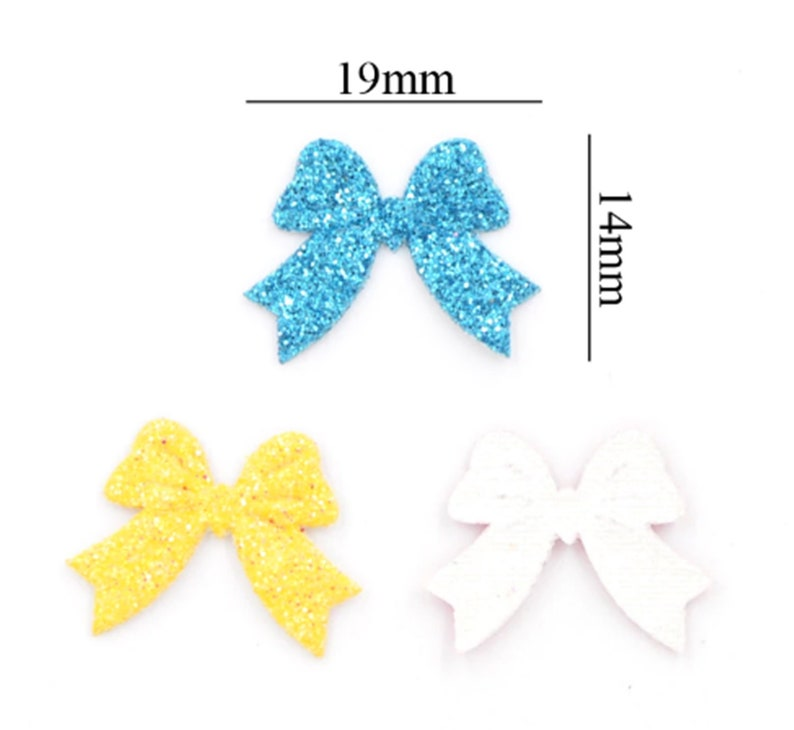 100pcs Mixed Colors Small Glitter Bow Leather Fabric Patch Applique Craft Scrapbooking Party Wedding DIY Decor