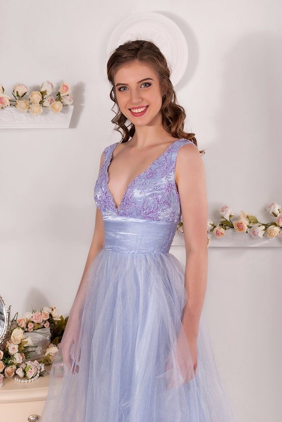 Lavander Evening Dress Tulle Prom Dress Corset With Lace And Etsy