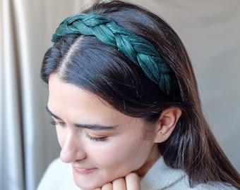 Genuine Silk Headband - Forest Emerald Green - Precious Silk Straw Headpiece - Made to Order by Hand