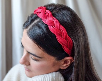 Genuine Silk Headband - Precious Silk Straw Headpiece - Deep Ruby Red - Made to Order by Hand