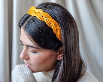 Genuine Silk Headband - Precious Silk Straw Headpiece - Heirloom Yellow Gold - Made to Order by Hand
