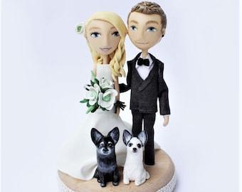 Rustic Wedding Cake Topper Figurine, Custom Wood Cake Topper, Dog, Anime, Clay Cake Topper, Personalized Bride Groom Cake Topper Mr Mrs