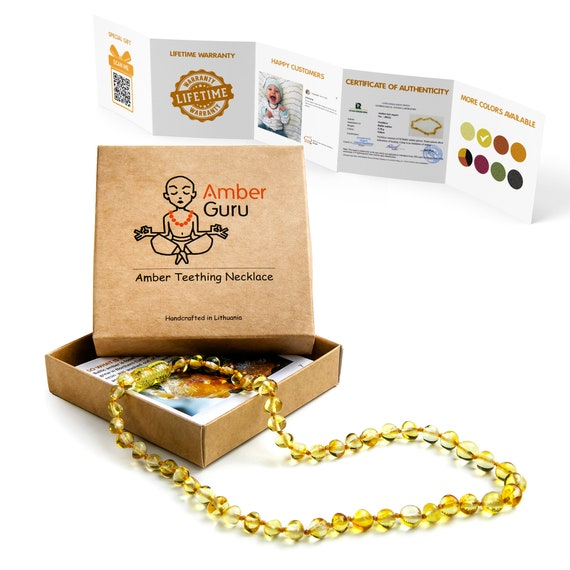 Screw Clasp Anti Inflammatory Polished Natural Baltic Amber Teething Necklace For Babies Perfect Baby Shower Gift Unisex 12.5 Inches Drooling /& Teething Pain Relief Lemon Color Knots