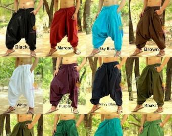 4acc3f069882 Mens Cotton Solid Harem Pants Womens Yoga Pants Unisex Casual Trouser Pants  Hippie Afghani Baggy Pants