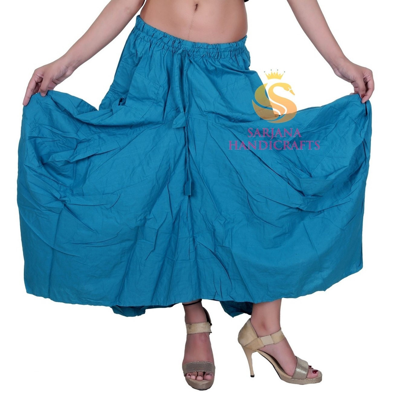 1622363e845 Women Cotton Pockets Turquoise Skirt Vintage Stretch Afghani