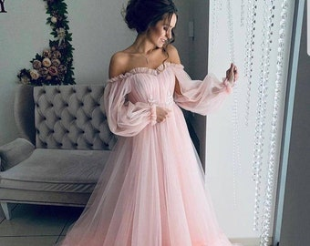 9ecbbd8da1c Off shoulder dress wedding guest dress baby shower dress boho wedding dress  pregnancy dress tulle women maxi dress with long sleeves