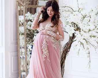 d93388187a7cb Pink maternity dress photo lace maternity gown tulle dress sweep train  maternity photo prop dress for pregnancy outfit Pink and white dress