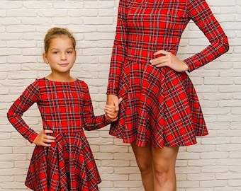 christmas red matching dresses plaid mother and daughter christmas photo mommy and me dress plaid dress red check pattern christmas dress