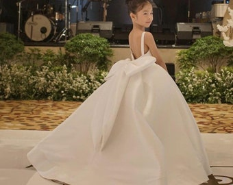 b6fca9c07 Ivory flower girl dress pageant tulle flower girl dress wedding girl dress  junior bridesmaid flower girl gown baby girl gown with big bow