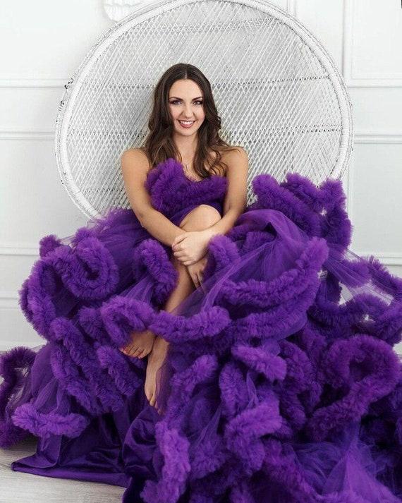 Purple Wedding Maternity Dress Photo Shoot Off Shoulders Etsy