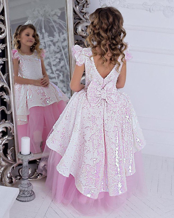 Pink girl dress birthday outfit toddler girl dress party dress girls pageant dress pink sparkle dress girls sequin dress flower girl dress
