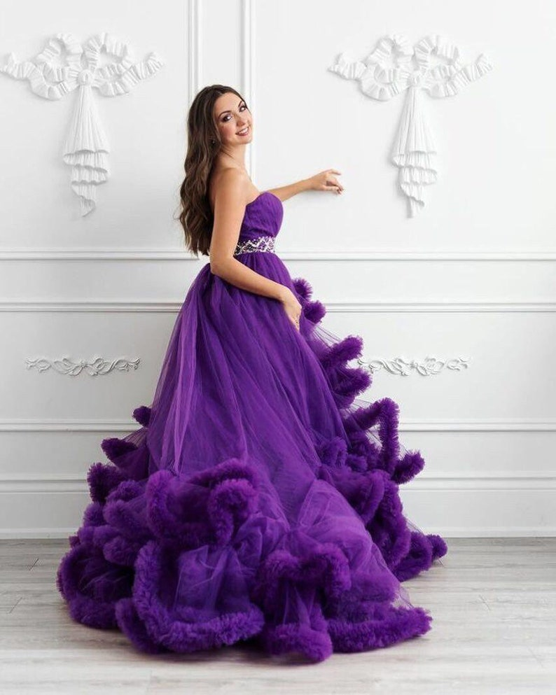 55c5f572284f5 Purple wedding maternity dress photo shoot off shoulders | Etsy