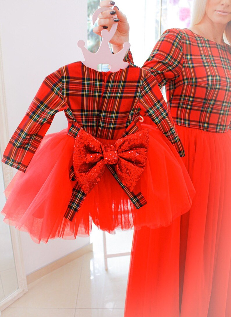 Christmas card photo dress check pattern Xmas dresses for mother and daughter holiday matching Red plaid Christmas mommy and me dresses