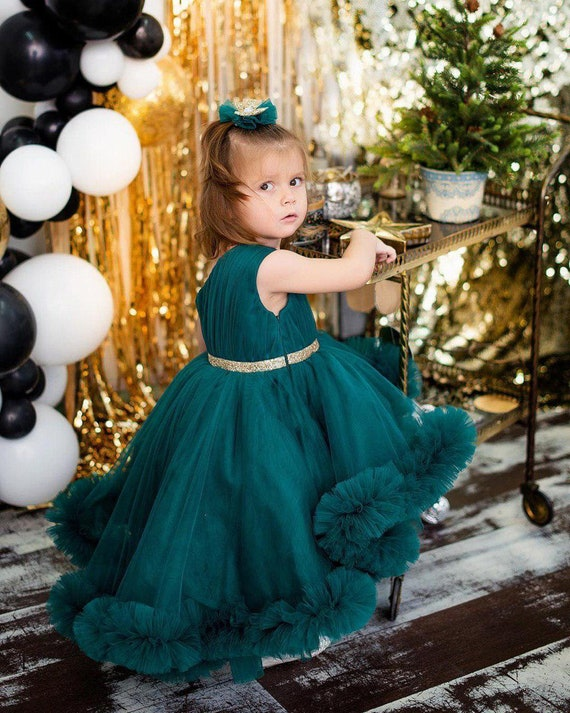 Dark green girls dress one shoulder dress formal girl dresses dark green flower girl Christmas dress for photo shoot pageant baby dress