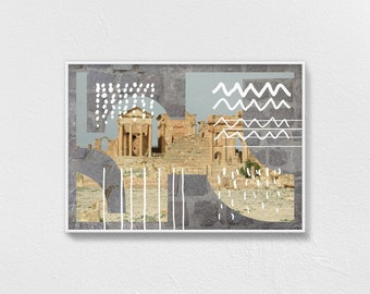 Architecture photography, (A1, A2, A3), travel poster, museum quality paper  classical Greek temple, Athens urban landscape — FUTURES PAST