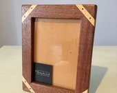 13x18 Wooden Photo Frame rustic handcrafted mahogany made in Italy, inlaid wood frame, solid wood, handmade