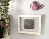 Wooden picture frame, double face frame, shabby chic frame, magnetic frame, blue white enamel, handmade