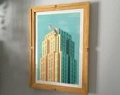 Original drawing artwork with custom handcrafted wooden frame, Kelly Romanaldi Artwork, Homedecor, digital art