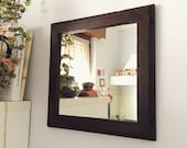 Mirror with rustic handmade walnut frame made in Italy, frame joinery, handmade