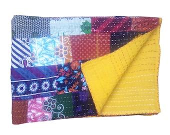 Handmade Kantha Quilt, Vintage Patchwork Silk Sari quilt, Embroidery Quilt, Bedspread, Blanket, Coverlet, Bed sheet, Indian Patola quilt