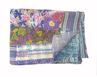 Antique Kantha Quilt, Vintage Patchwork Silk Sari quilt, Embroidery Quilt, Bedspread, Blanket, Coverlet, Bed sheet, Indian Patola quilt