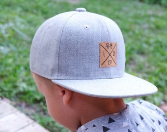 a357b7900a9bc7 Toddler boy snapback baseball cap, hipster baby hat, leather tag cap, vegan  toddler hat, grey skater