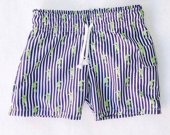 29e35799e6 Striped Seahorse Board Shorts, Baby Boy Swimsuit, Swim Shorts, Swim trunks,  Baby Shower Gift