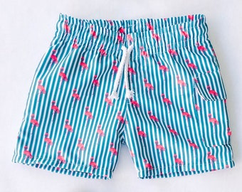 5d9dff6c15 Striped Flamingo Board Shorts, Baby Boy Swimsuit, Swim Shorts, Swim trunks,  Baby Shower Gift