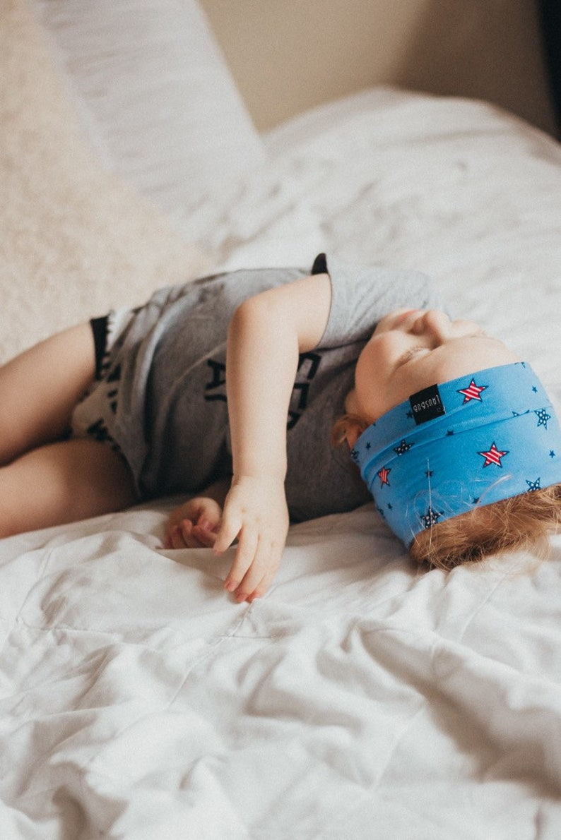 Stars and Stripes baby shower gift Patriotic baby boy and toddler headband Fourth of July blue headband unisex boy headband