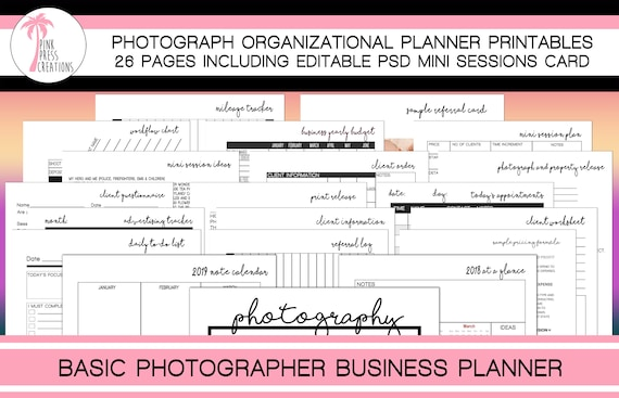 Minimalist Photography Business Planner Photographer