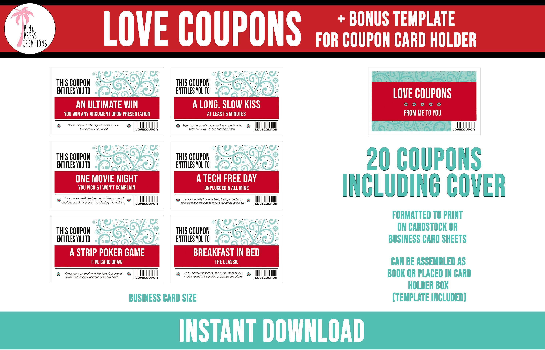fun love coupon book 20 printable coupons boyfriend | etsy