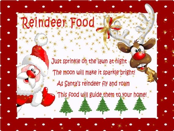 This is an image of Enterprising Reindeer Food Recipe Printable Tag Poem