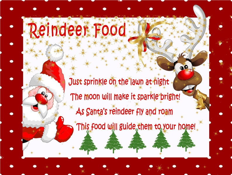 photo about Reindeer Food Labels Printable referred to as Printable Reindeer Meals Label Prompt Down load Colourful Xmas Bag Topper Do it yourself PRINTABLE Xmas Reindeer Foods Card