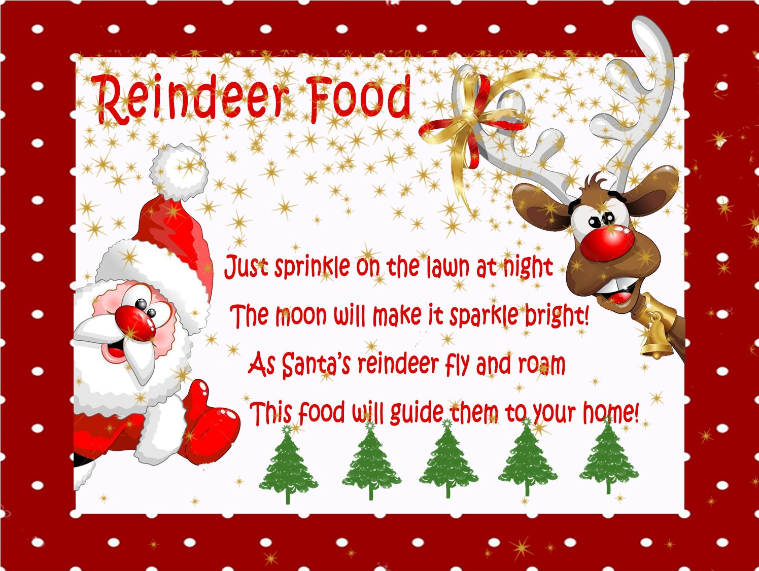 This is a photo of Refreshing Reindeer Food Printable